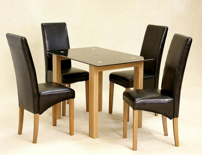 adina black dining set small 4 cyprus chairs - 4 Chair Dining Table