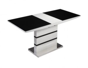 Aldridge High Gloss Dining Table White with Black Glass Top