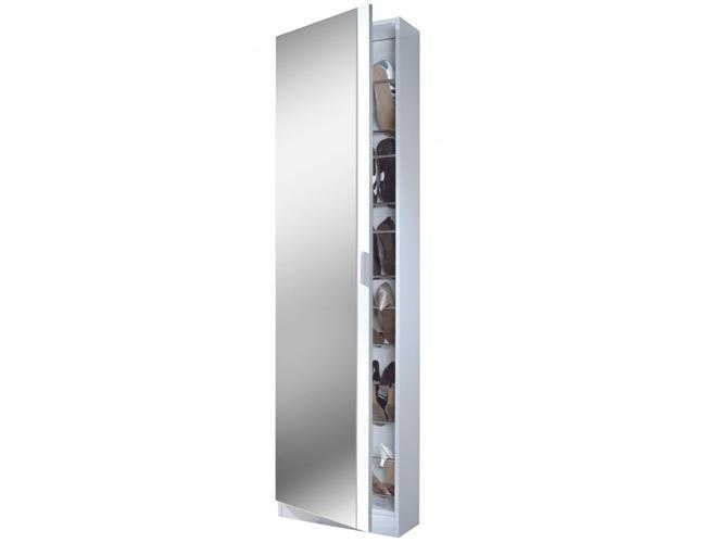 Arctic Shoe Cabinet Mirrored Door & 6 Shelve High Shine White