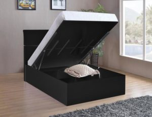 Arden Black High Gloss Storage Bed King Size