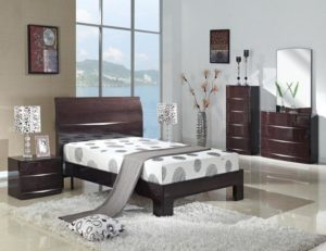Arden Cherry High Gloss Wardrobe with 2 Drawers