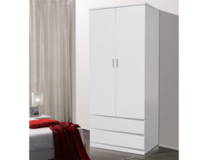 Arden/Widney White High Gloss Wardrobe with 2 Drawers