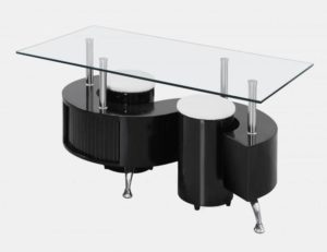 Boule Black High Gloss Coffee Table with Clear Glass