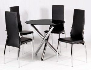 Calder Dining Table Chrome & Black Glass