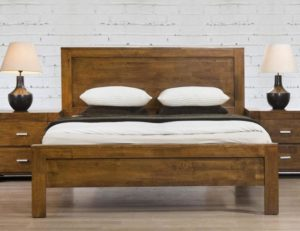 California Double Bed Solid Rubberwood Rustic Oak