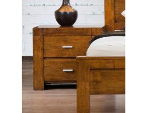 California Nightstand Solid Rubberwood Rustic Oak