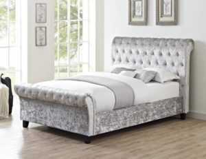 Casablanca HFE Crushed Velvet Double Bed Grey