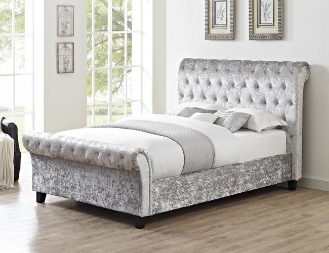Casablanca HFE Crushed Velvet King Size Bed Grey