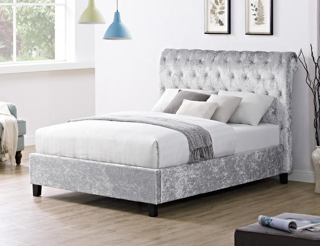 Casablanca LFE Crushed Velvet King Size Bed Grey