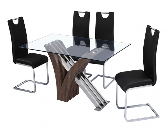 Caspian PU Chair Chrome & Black