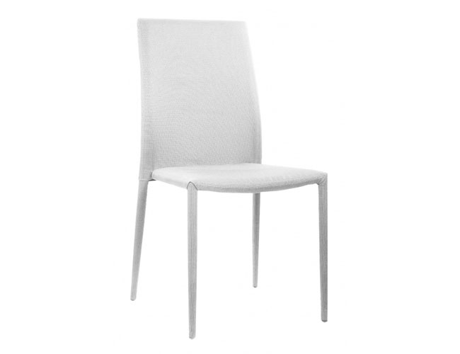 Chatham Fabric Chair White with White Metal Legs