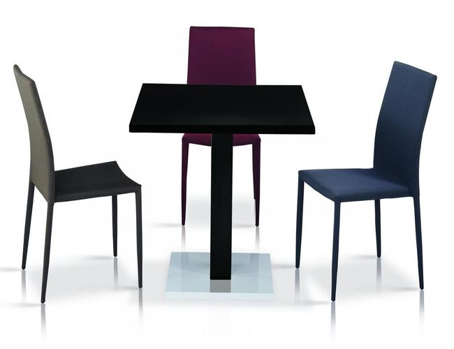 Chatham High Gloss Table Black with Stainless Steel Base 4 Chairs