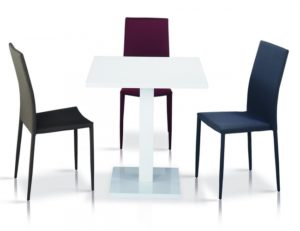 Chatham High Gloss Table White with Stainless Steel Base 4 Chairs