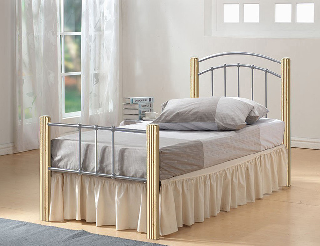 Coral Single Bed Silver & Beech Colour