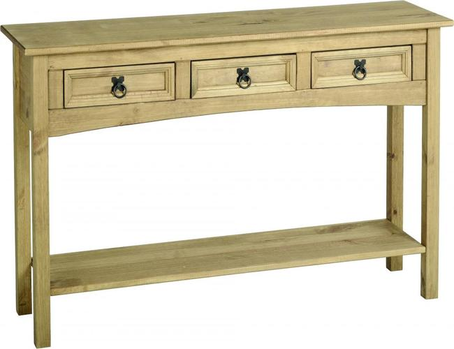 Corona Console Table 3 Drawer with Shelf