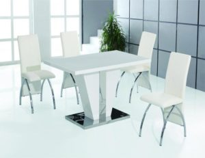 Costilla Dining Table White with Stainless Steel