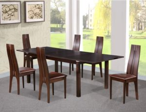 Croft Dining Set with 6 Solid Beech Chairs Dark Walnut