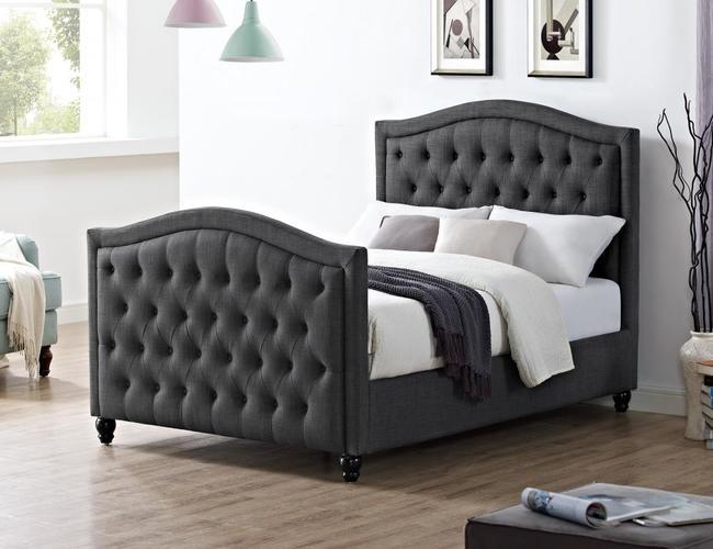 Daytona Linen Fabric King Size Bed Grey
