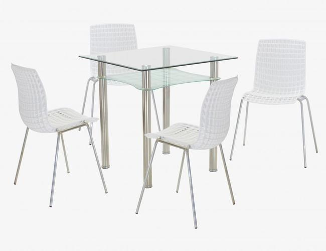 Delford Clear Dining Set 4 Chairs