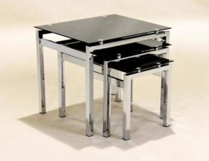 Eton Nest of Tables Chrome/Black Glass JOA263
