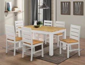 Fairmont White Dining Set with 6 Chairs Natural & White