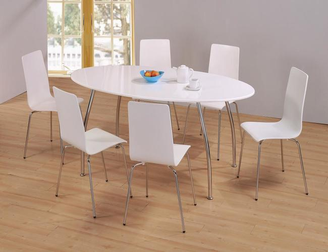 Fiji High Gloss Oval Dining Set with 6 Chairs White