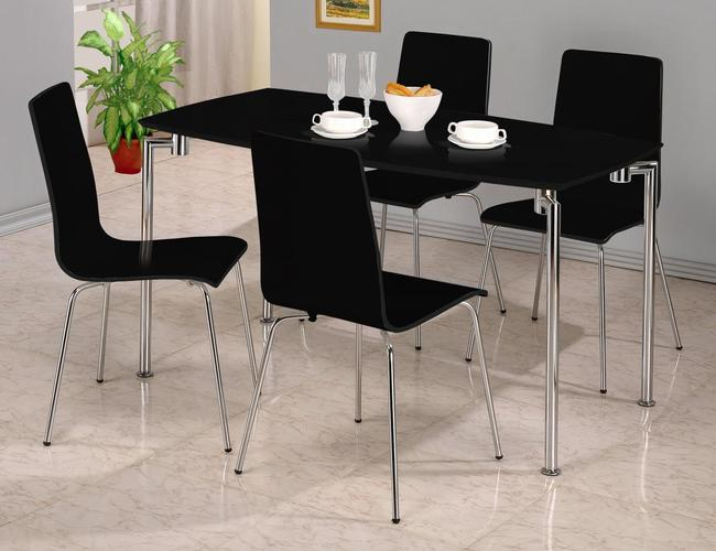 Fiji High Gloss Rectangle Dining Set with 4 Chairs Black