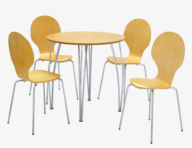 Fiji Round Dining Set with 4 Chairs Beech