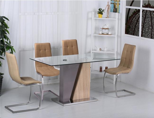 Olivia PU Chairs Chrome & Brown