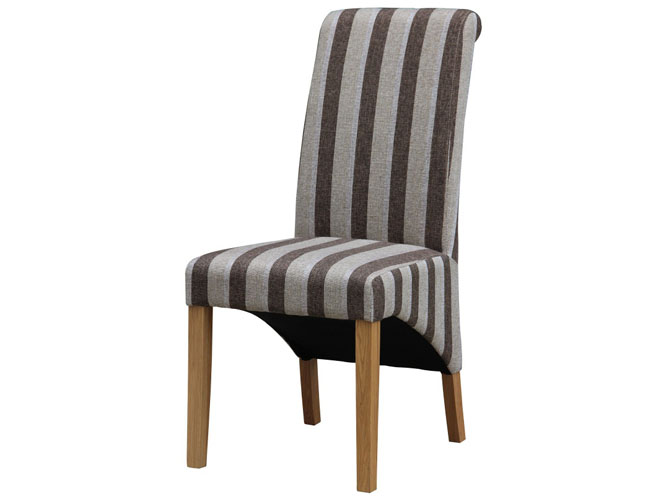 Kingsland Fabric Chair Solid Rubberwood Brown & Grey Stripe
