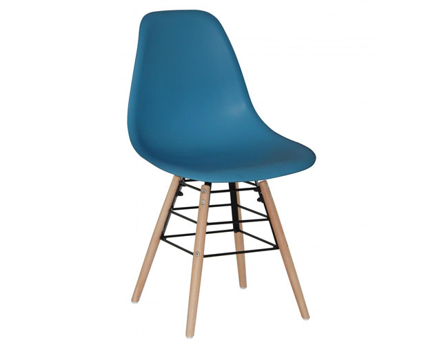 Lilly Plastic (PP) Chairs with Solid Beech Legs Dark Blue