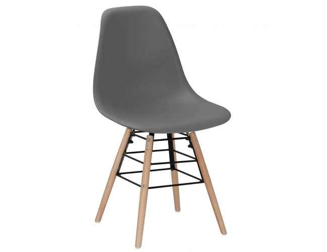 Lilly Plastic (PP) Chairs with Solid Beech Legs Dark Grey