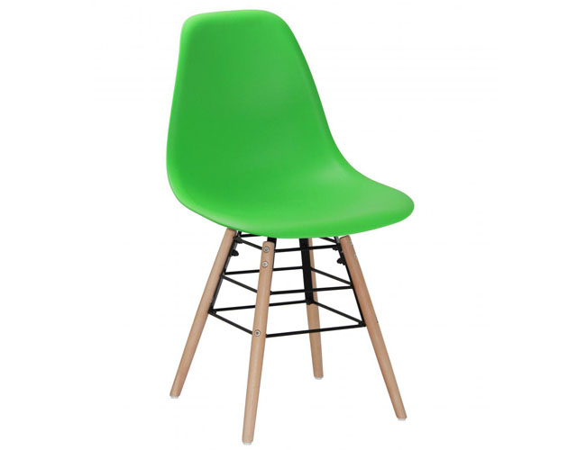 Lilly Plastic (PP) Chairs with Solid Beech Legs Green