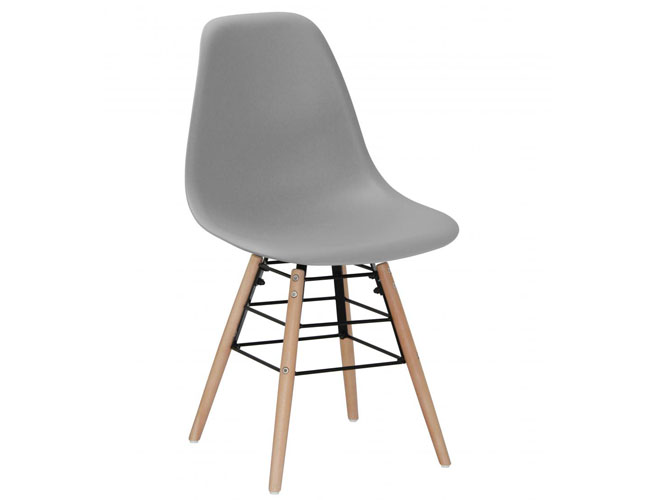 Lilly Plastic (PP) Chairs with Solid Beech Legs Light Grey