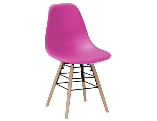 Lilly Plastic (PP) Chairs with Solid Beech Legs Pink