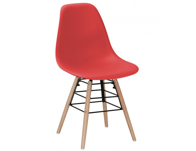 Lilly Plastic (PP) Chairs with Solid Beech Legs Red