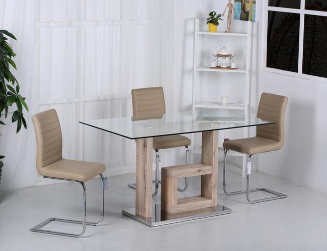 Lucia PU Chairs Chrome & Brown