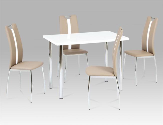 Naomi PU Chairs Chrome & Brown with white Stripe (2s)