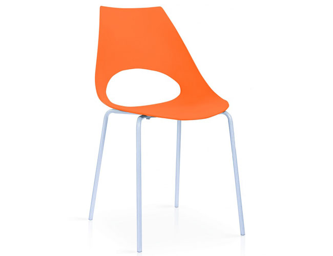 Orchard Plastic (PP) Chairs Orange with Metal Legs Chrome