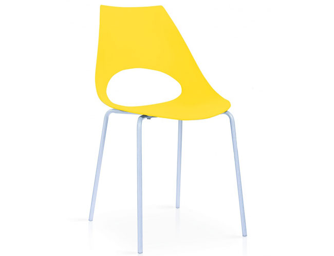 Orchard Plastic (PP) Chairs Yellow with Metal Legs Chrome