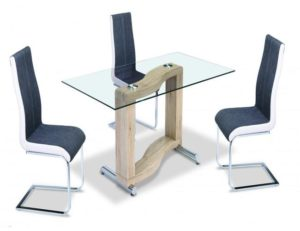 Zenon PU Chairs Chrome & Grey with White Sides